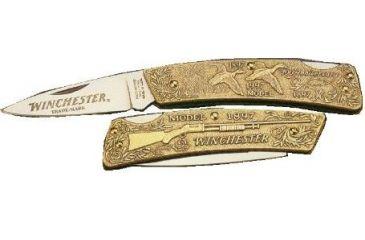 Winchester Knives 3in, 1 Blade Lockback Commemorative Knife w/ Cast Bronze Handle for Winchester Model 1897 Shotgun W 15 1997-2