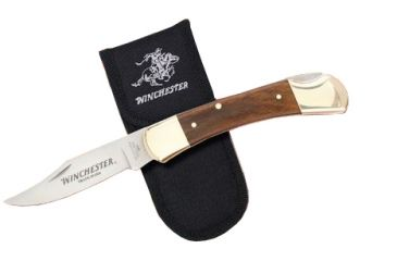 Winchester Knives 5in, 1 Blade Lockback w/ Wood Handle,Wood and Brass Bolsters and Nylon Pouch W 40 14090 C