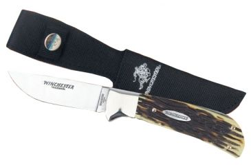 Winchester Knives 8 1/8in, 1 Blade Sheath Knife w/ Drop Point Flat Grind Blade and Stag Delrin Handle, Clam Pack W 40 14004 C