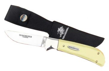 Winchester Knives 8 1/8in, 1 Blade Sheath Knife w/ Drop Point Flat Grind Blade and Yellow Delrin Handle, Clam Pack W 40 14004 YC