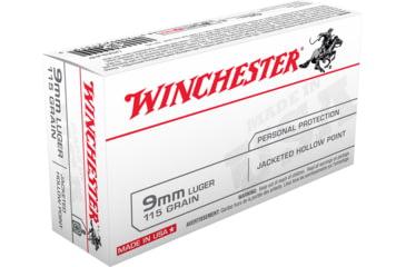 Winchester USA HANDGUN 9mm Luger 115 grain Jacketed Hollow Point Centerfire Pistol Ammunition USA9JHP Caliber: 9mm Luger, Number of Rounds: 50,
