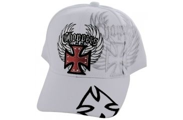 Zan Headgear 3-D Embroidered White Cap Chopper CPA128