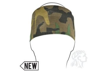 Zan Headgear Cotton Headband, Woodland Camo w/ Velcro Clsoure HBV118