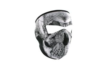 Zan Headgear Full Mask, Neoprene, Black-White Skull, Tactical, 4.0mm Thick WNFMT002