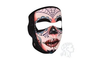 Zan Headgear Full Mask, Neoprene, Fleece Lined, Sugar Skull WNFL091