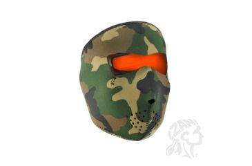 Zan Headgear Full Mask, Neoprene, Woodland Camo Reverses to High-Vis Orng WNFM118HV