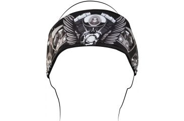 Zan Headgear Headband, V-Twin Wings HB001