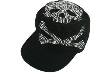 Zan Headgear Highway Honey Series Black Skull Studs Cap CPHH03