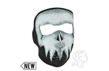 Zan Headgear Neoprene Face Mask, Grey Skull, Glow in the Dark WNFM081G