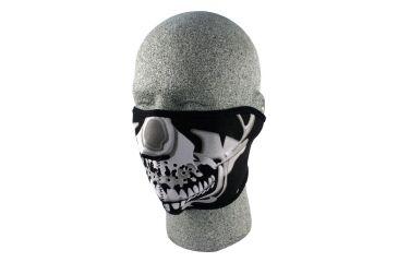 Zan Headgear Neoprene Half Face Mask Chrome Skull WNFM023H