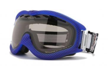 Zeal Optics Detonator Ski Goggles, Carbon Matte Blue Frame and Polarized Automatic Optimum Lens DT4SPPB