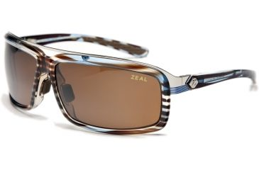 Zeal Optics Re-Entry Sunglasses, Aqua Blue Wood Grain Frame and Polarized Copper Lens 10076