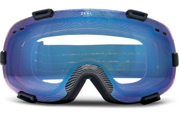 Zeal Optics Voyager Ski Goggles, CS Division Black Frame and Bluebird Mirror and Stainless Silver Optimum Lens 10278