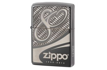 Zippo 80th Anniversary Limited Edition Classic Lighter, Armor Black Chrome 28249