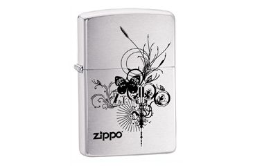 Zippo Zippo Butterfly Classic Lighter, Brushed Chrome 24800