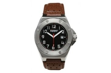 Zippo Casual Bolt Style Stainless Steel Watch, Black Dial & Brown Leather Strap 45009