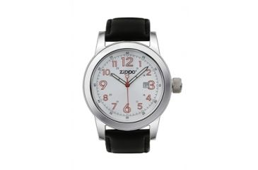 Zippo Casual Classic Style Watch, White Dial & Black Leather Strap 45002