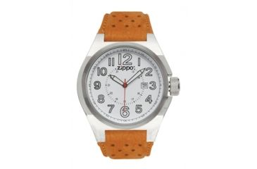 Zippo Casual Brushed Chrome Style Watch, White Dial & Brown Leather Strap 45011