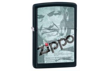 Zippo Depot Classic Style Lighter w/ Zippo Logo, Black Matte 28300
