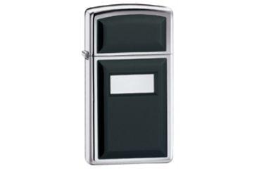 Zippo Engraveable Classic Slim Lighter, High Polish Chrome, Black 1655