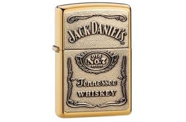 Zippo Jack Daniels Classic Style Emblem Lighter, High Polish Brass 254BJD428