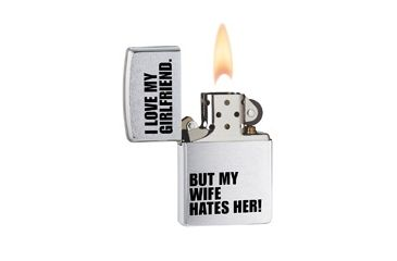 Zippo Luvgrlfriend Classic Style Lighter, Brushed Chrome 24522