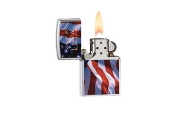 Zippo Made In Usa Flag Classic Lighter, Brushed Chrome 24797