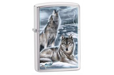 Zippo Mazzi Winter Wolves Classic Lighter, Brushed Chrome 28002