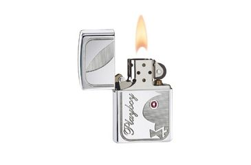 Zippo Playboy Bunny Classic Lighter w/ Swarovski Crystal Pink Stone, High Polish Chrome 24789