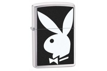 Zippo Playboy Bunny Classic Lighter, Brushed Chrome 28269