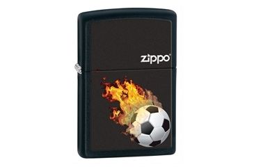 Zippo Soccer On Fire Classic Style Lighter, Black Matte 28302