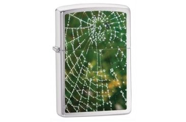 Zippo Spider Web Rain Drops Classic Style Lighter, Brushed Chrome 28285