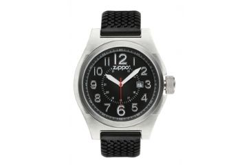 Zippo Sport Brushed Chrome Style Watch, Black Dial & Black Silicone Strap 45012
