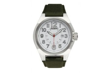 Zippo Sport Brushed Chrome Style Watch, White Dial & Olive Drab Fabric Strap 45013
