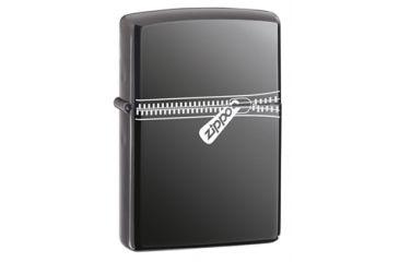 Zippo Zipped Classic Style Lighter w/ Zippo Logo, Black Ice 21088