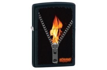 Zippo Zipped Classic Style Lighter, Black Matte 28309