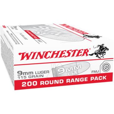 Winchester USA HANDGUN 9mm Luger 115 grain Full Metal Jacket Centerfire  Pistol Ammunition - 200 Rounds | 4.6 Star Rating w/ Free Shipping