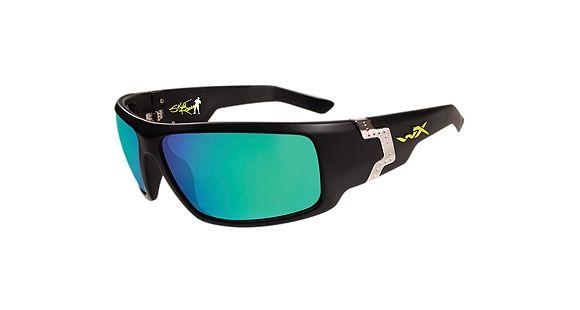 064e51df01a Wiley X Xcess Sunglasses - Gloss Black Frame w  Polarized Emerald Mirror w   Amber
