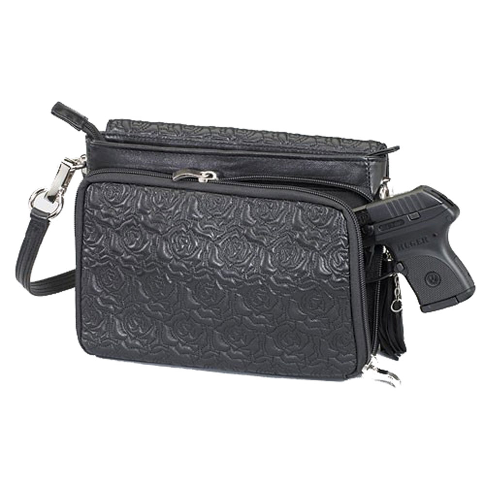 Gun Tote'n Mamas Concealed Carry Embroidered Lambskin Cross-Body Shoulder Bag,9x7x3.375in
