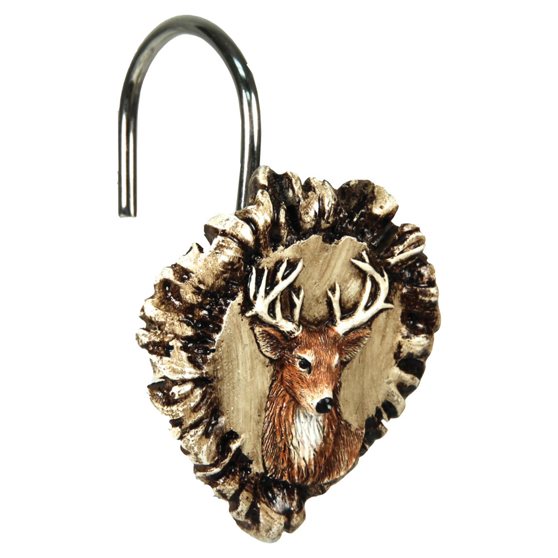 River S Edge Antler Deer Shower Curtain Hook Set 647