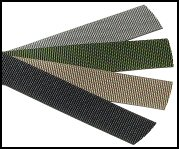 Examples for firearm sling colors olive drab, forest green, coyote tan and black (from top to bottom).
